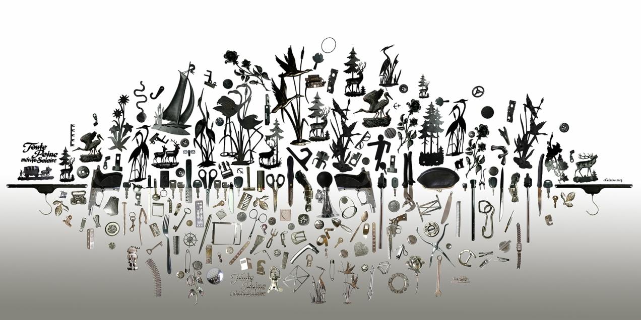 paysage objets noir et argent dégradé 200x100 aplati réduit